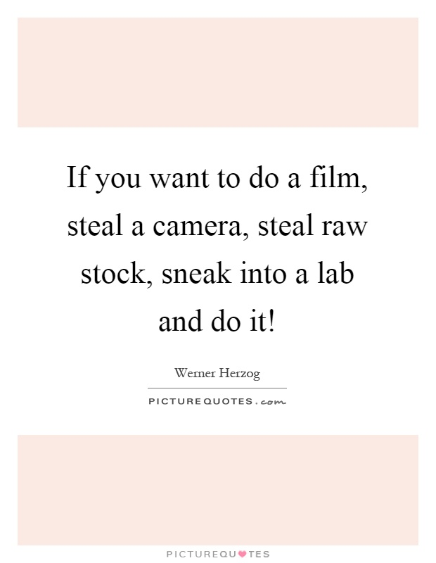 If you want to do a film, steal a camera, steal raw stock, sneak into a lab and do it! Picture Quote #1