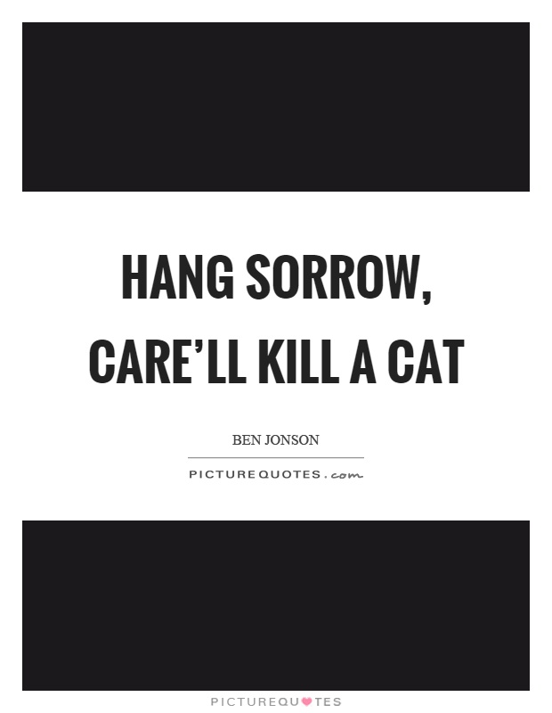 Hang sorrow, care'll kill a cat Picture Quote #1