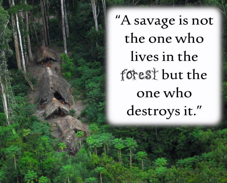 A savage is not the one who lives in the forest but the one who destroys it Picture Quote #1