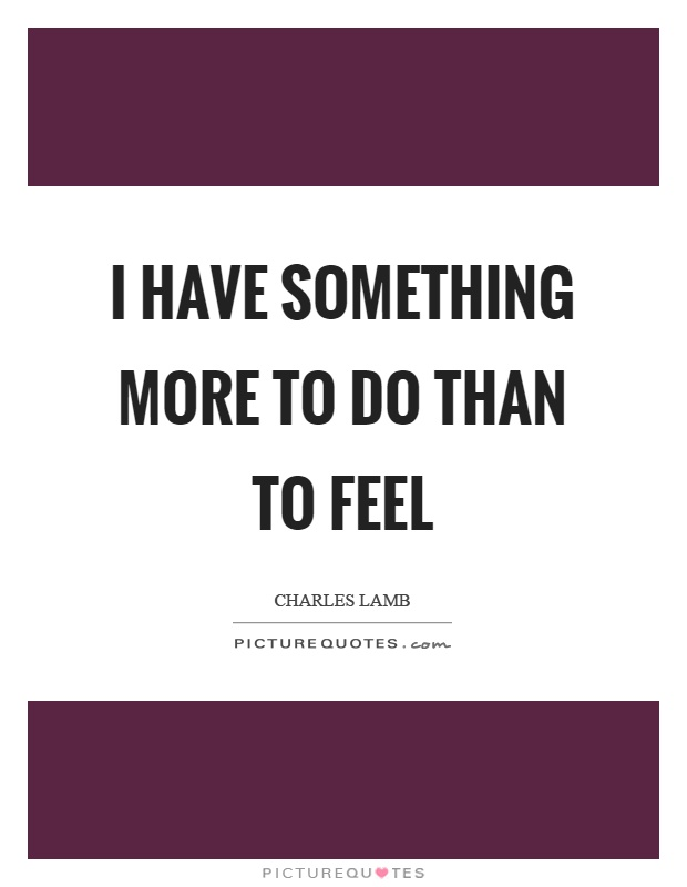 I have something more to do than to feel Picture Quote #1
