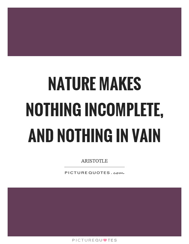 Nature makes nothing incomplete, and nothing in vain Picture Quote #1