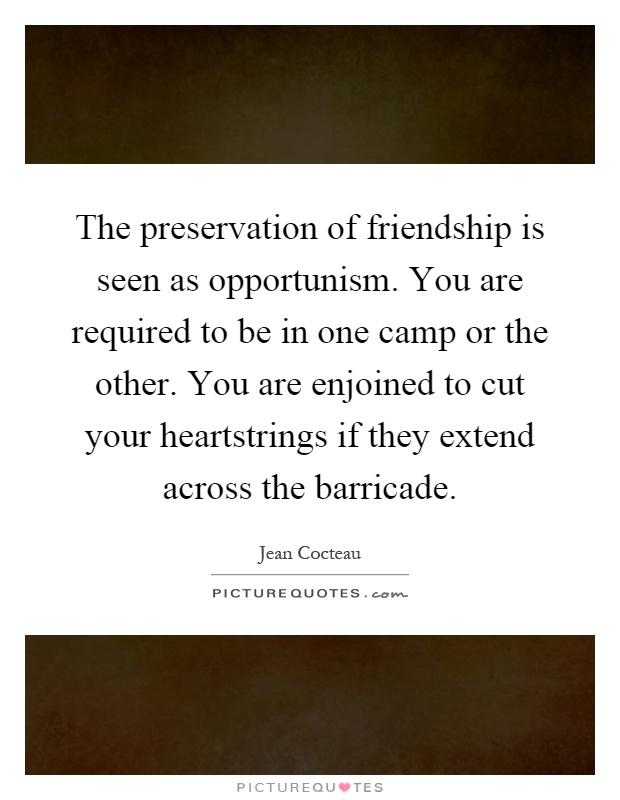The preservation of friendship is seen as opportunism. You are required to be in one camp or the other. You are enjoined to cut your heartstrings if they extend across the barricade Picture Quote #1