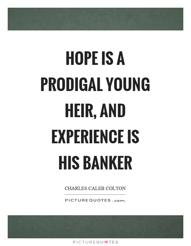 Hope is a prodigal young heir, and experience is his banker Picture Quote #1