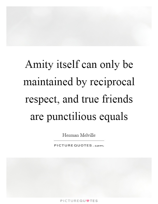 Amity itself can only be maintained by reciprocal respect, and true friends are punctilious equals Picture Quote #1