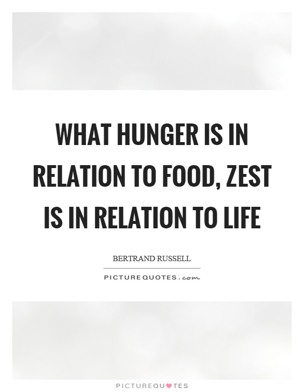 What hunger is in relation to food, zest is in relation to life Picture Quote #1