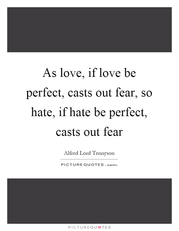 As love, if love be perfect, casts out fear, so hate, if hate be perfect, casts out fear Picture Quote #1