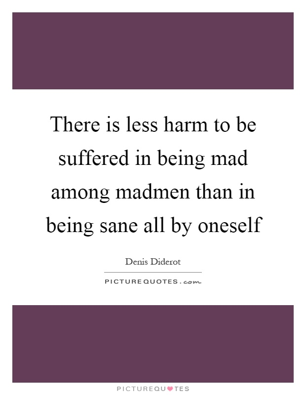 There is less harm to be suffered in being mad among madmen than in being sane all by oneself Picture Quote #1