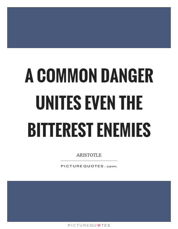 A common danger unites even the bitterest enemies Picture Quote #1