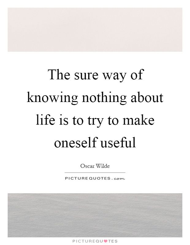The sure way of knowing nothing about life is to try to make oneself useful Picture Quote #1