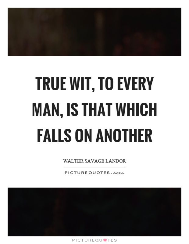 True wit, to every man, is that which falls on another Picture Quote #1