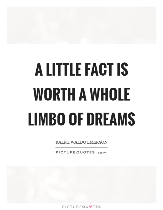 A little fact is worth a whole limbo of dreams Picture Quote #1