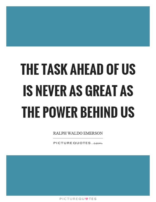 The task ahead of us is never as great as the power behind us Picture Quote #1