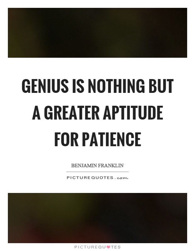 Genius is nothing but a greater aptitude for patience Picture Quote #1
