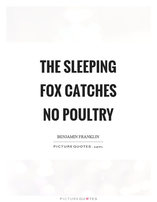 The sleeping fox catches no poultry Picture Quote #1