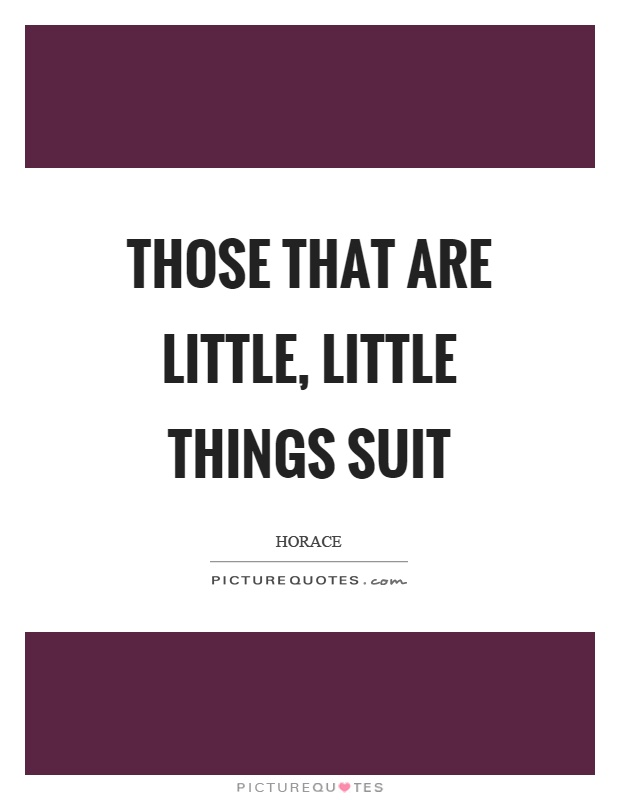 Those that are little, little things suit Picture Quote #1