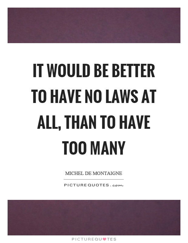 It would be better to have no laws at all, than to have too many Picture Quote #1