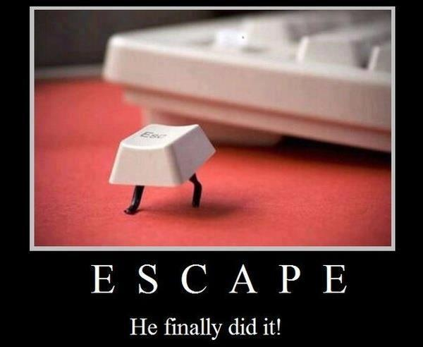 Escape. He finally did it! Picture Quote #1