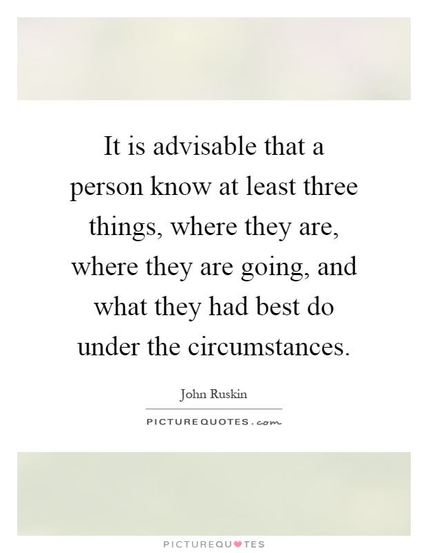 It is advisable that a person know at least three things, where they are, where they are going, and what they had best do under the circumstances Picture Quote #1