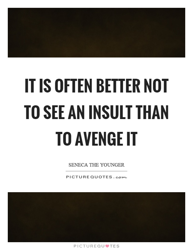 It is often better not to see an insult than to avenge it Picture Quote #1