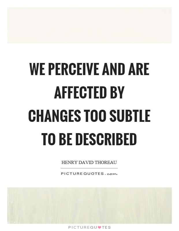 We perceive and are affected by changes too subtle to be described Picture Quote #1