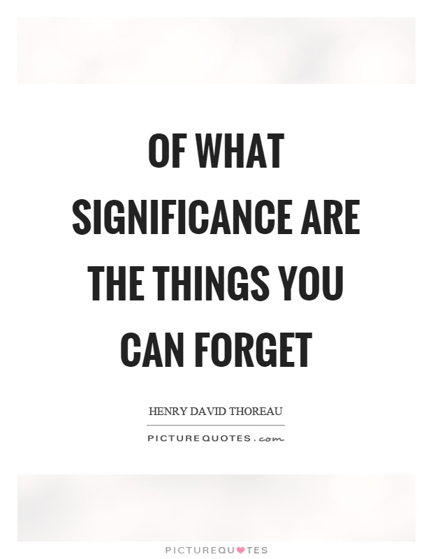 Of what significance are the things you can forget Picture Quote #1