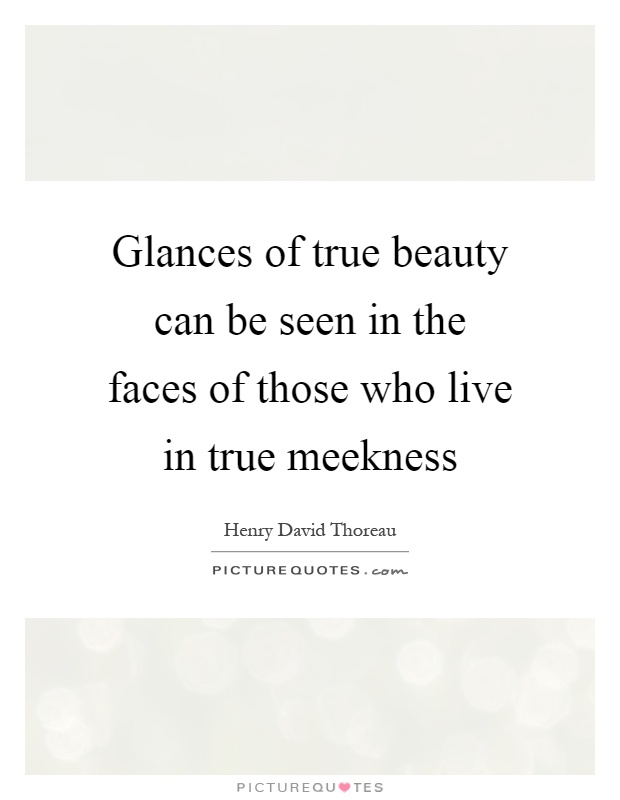Glances of true beauty can be seen in the faces of those who live in true meekness Picture Quote #1