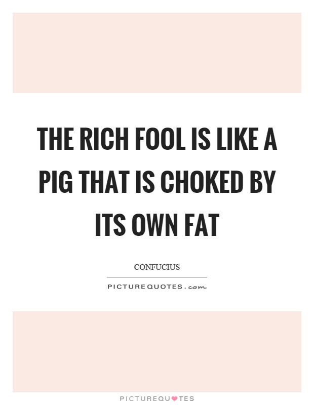 The rich fool is like a pig that is choked by its own fat Picture Quote #1