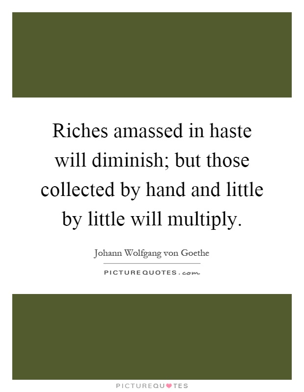 Riches amassed in haste will diminish; but those collected by hand and little by little will multiply Picture Quote #1