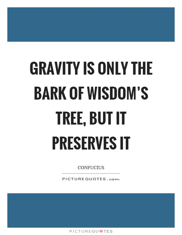 Gravity is only the bark of wisdom's tree, but it preserves it Picture Quote #1