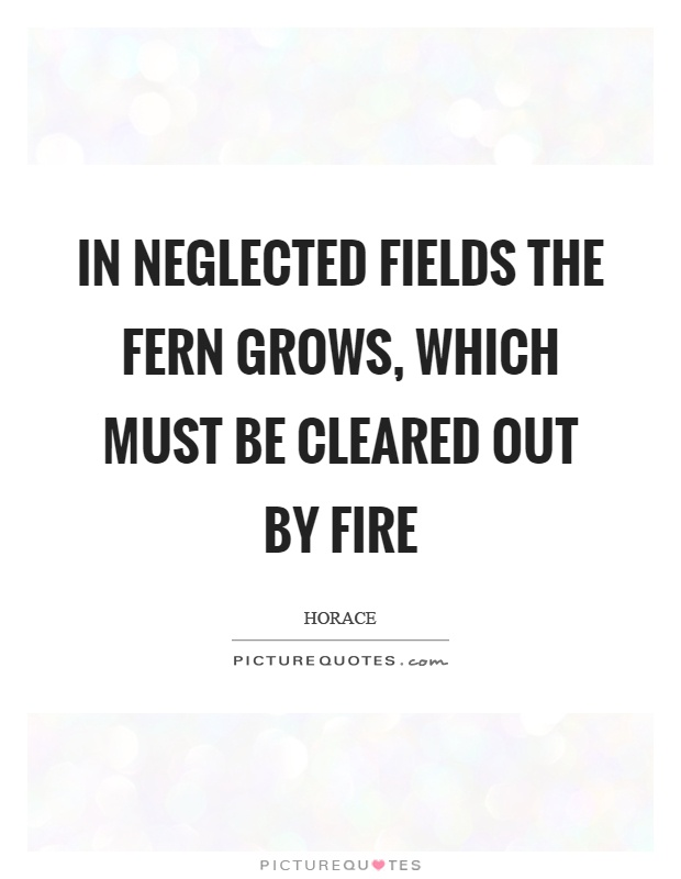 In neglected fields the fern grows, which must be cleared out by fire Picture Quote #1
