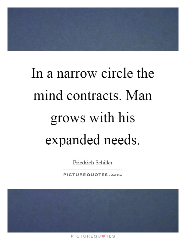 In a narrow circle the mind contracts. Man grows with his expanded needs Picture Quote #1