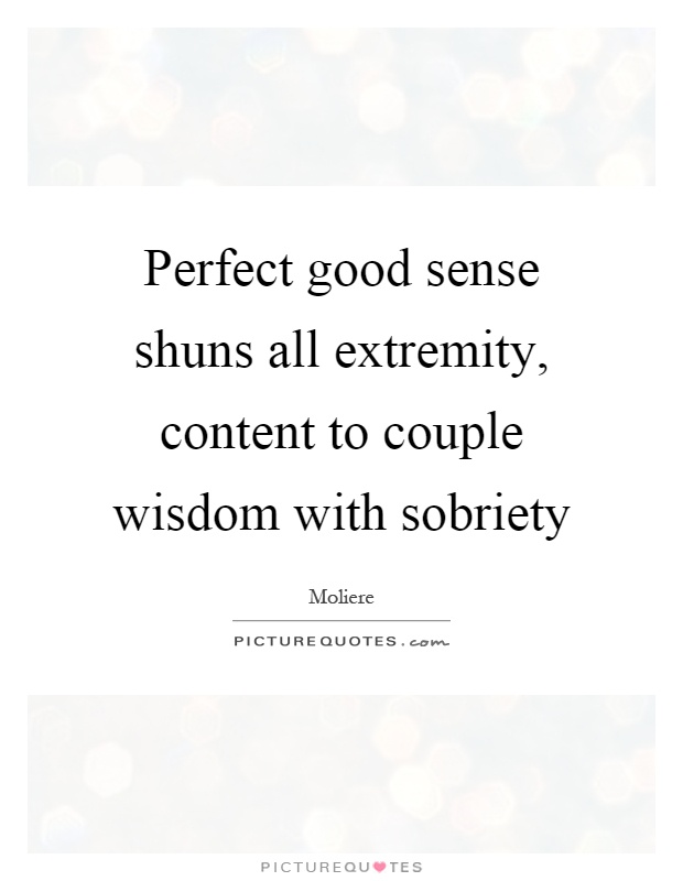Perfect good sense shuns all extremity, content to couple wisdom with sobriety Picture Quote #1