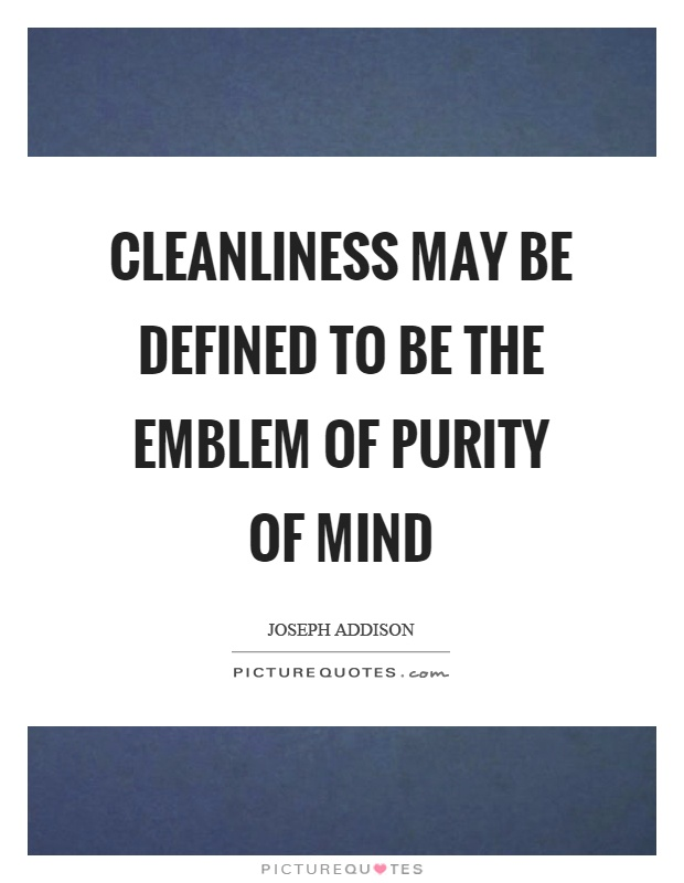 Cleanliness may be defined to be the emblem of purity of mind Picture Quote #1