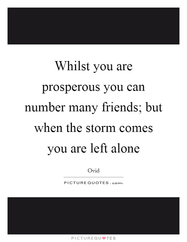 Whilst you are prosperous you can number many friends; but when the storm comes you are left alone Picture Quote #1