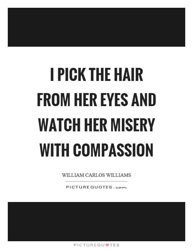 I pick the hair from her eyes and watch her misery with compassion Picture Quote #1