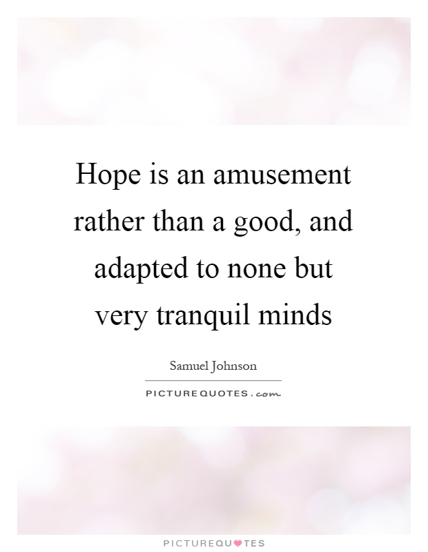 Hope is an amusement rather than a good, and adapted to none but very tranquil minds Picture Quote #1