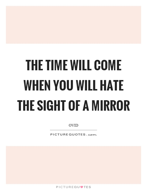 The time will come when you will hate the sight of a mirror Picture Quote #1