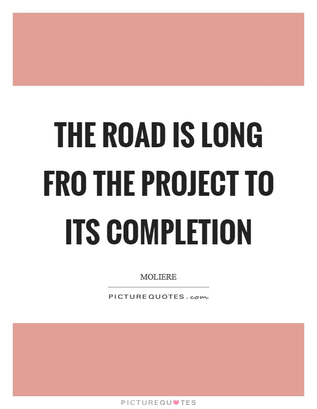 The road is long fro the project to its completion Picture Quote #1
