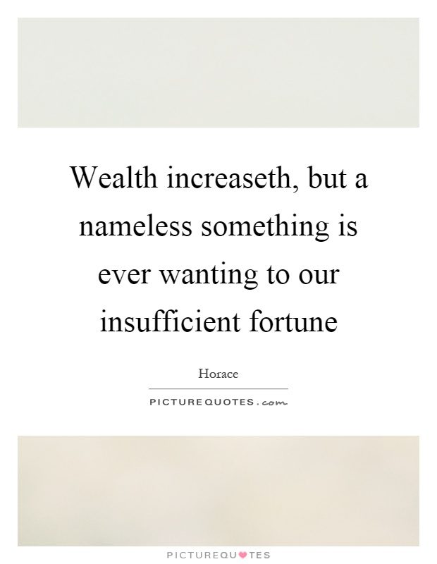 Wealth increaseth, but a nameless something is ever wanting to our insufficient fortune Picture Quote #1