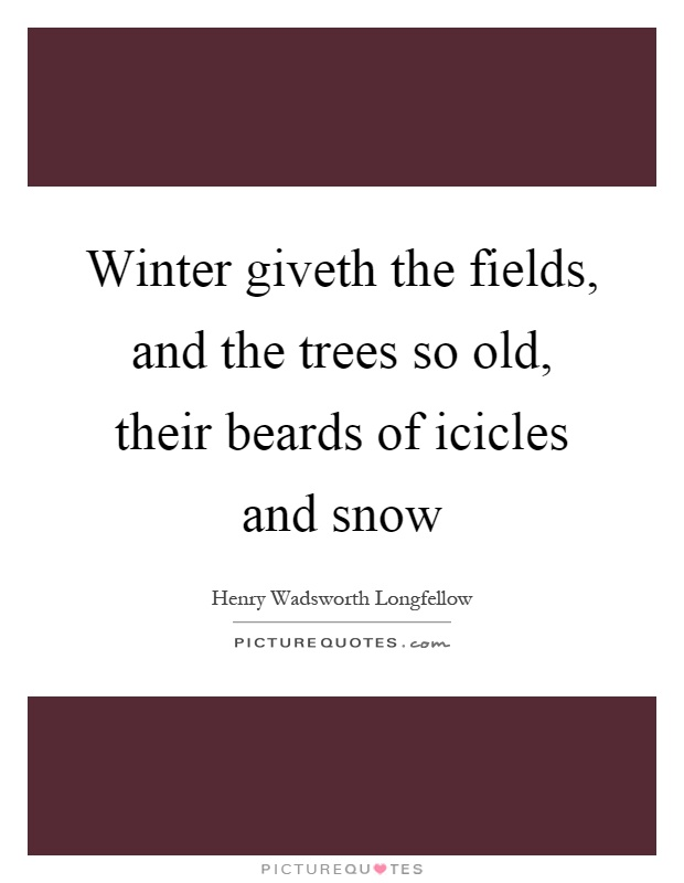 Winter giveth the fields, and the trees so old, their beards of icicles and snow Picture Quote #1