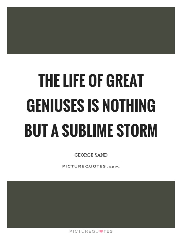 The life of great geniuses is nothing but a sublime storm Picture Quote #1