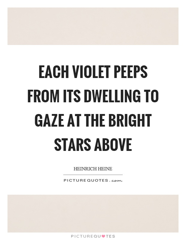 Each violet peeps from its dwelling to gaze at the bright stars above Picture Quote #1