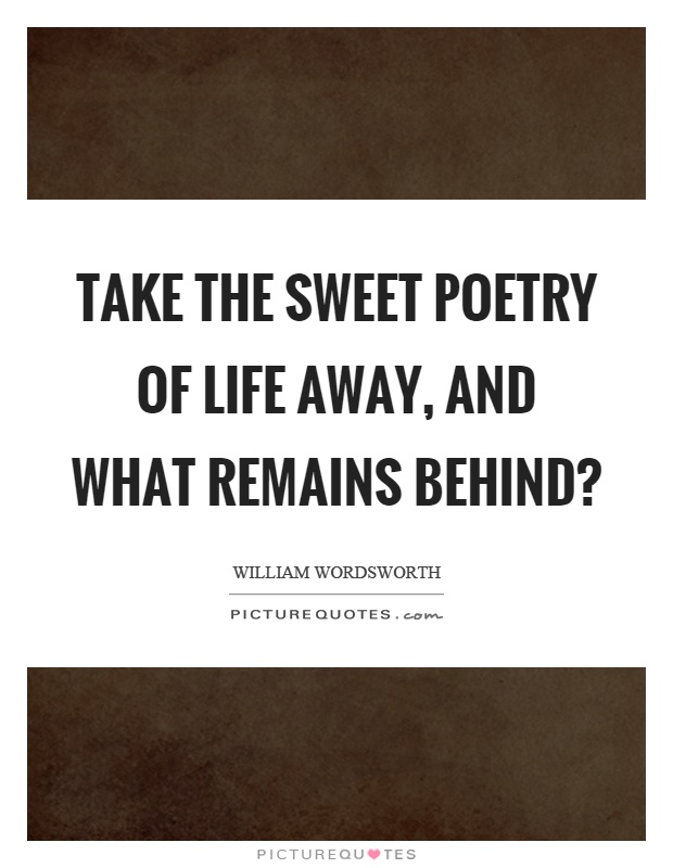 Take the sweet poetry of life away, and what remains behind? Picture Quote #1