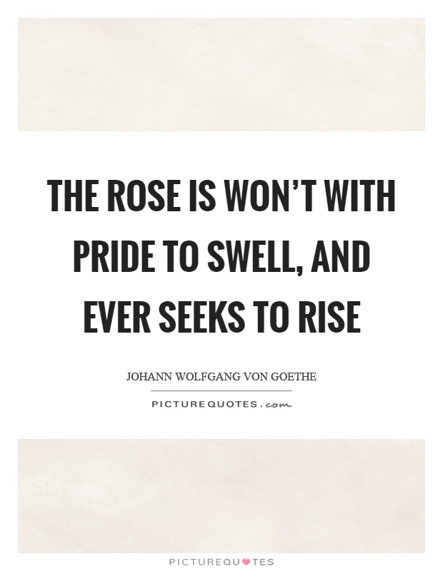 The rose is won't with pride to swell, and ever seeks to rise Picture Quote #1