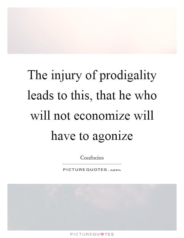 The injury of prodigality leads to this, that he who will not economize will have to agonize Picture Quote #1