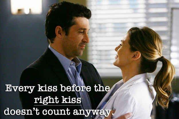 Every kiss before the right kiss doesn't count anyway Picture Quote #1