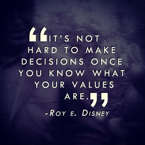 It's not hard to make decisions when you know what your values are Picture Quote #2