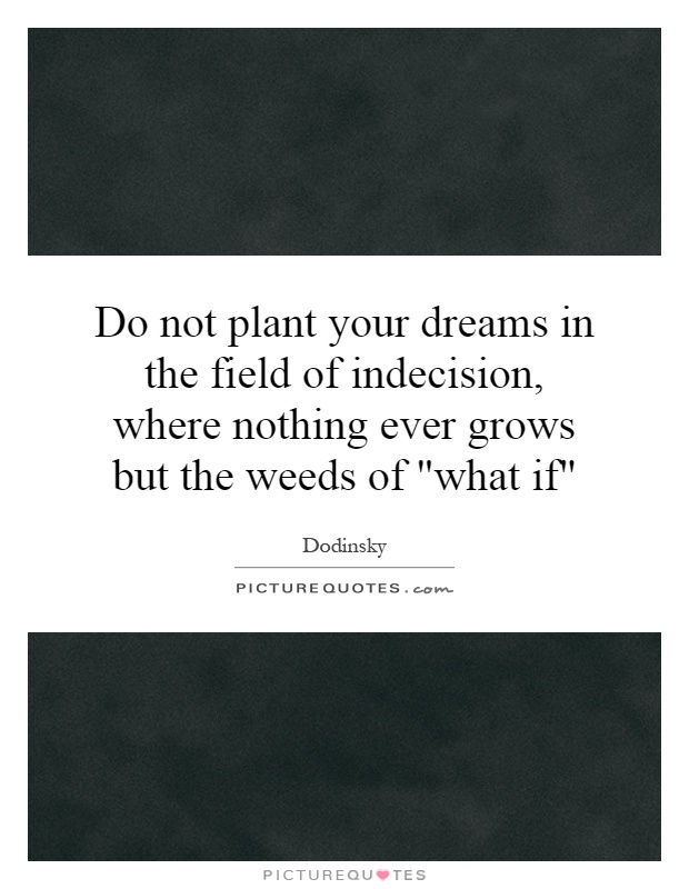 Do not plant your dreams in the field of indecision, where nothing ever grows but the weeds of