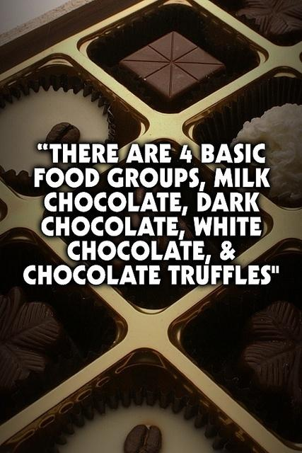 There are four basic food groups: milk chocolate, dark chocolate, white chocolate, and chocolate truffles Picture Quote #1