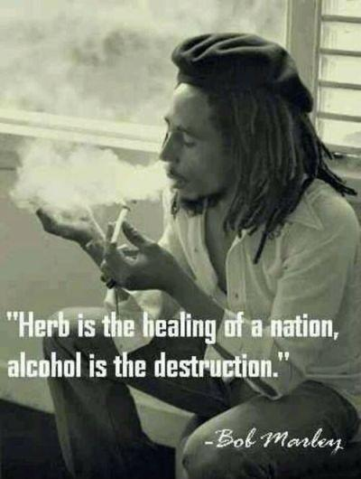 Herb is the healing of a nation, alcohol is the destruction Picture Quote #1